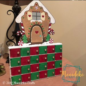 Wood Advent Calendar With Gingerbread House