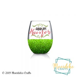 Abrupt Humor glittered stemless wine glass