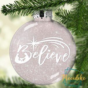 Believe Glittered Christmas Ornament