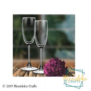 Etched Monogram Champagne Flutes