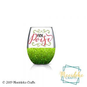 Fine Poise Glittered Stemless Wine Glass