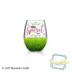 Free Spirit Glittered Stemless Wine Glass