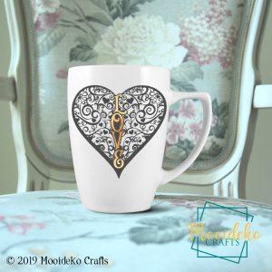 Heart Love Coffee Mug,  8 oz stoneware