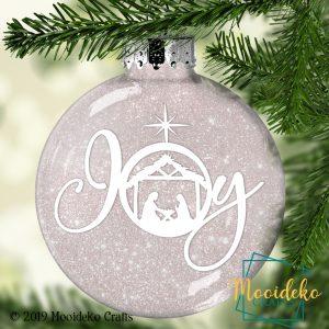 Joy Glittered Christmas Ornament