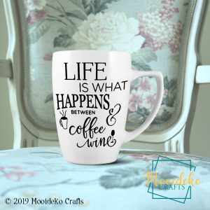 Life Coffee Wine Coffee Mug,  8 oz stoneware