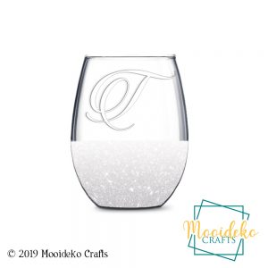 Stemless Glittered Etched Wine Glass
