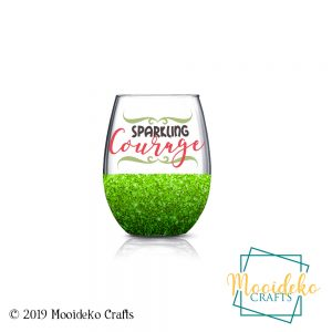 Sparkling Courage Glittered Stemless Wine Glass