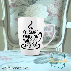 Working Coffee 8 oz Stoneware Coffee Mug