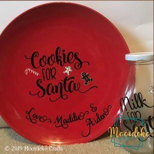 Cookies for Santa Plate with Milk for Santa Jug