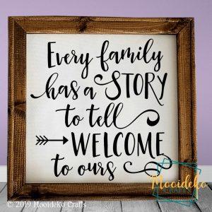 Every Family Has a Story Reverse Canvas Wall Decor