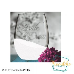 Stemless Glittered Bride or Bride Crew Wineglass
