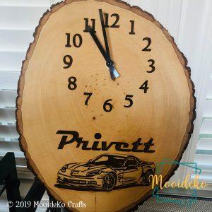 Custom Clock Wood Sliced with Bark