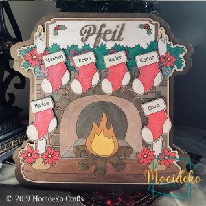 Standalone Christmas Fireplace Family Name Sign