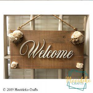 "Elegant ""Welcome"" Floral Farmhouse Sign"
